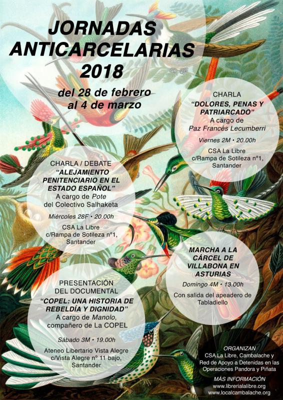 Jornadas anticarcelarias. Del 28 de febrero al 4 de marzo en Oviedo y Santander