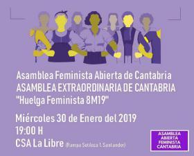Asamblea feminista abierta de Cantabria extrordinaria para preparar la huelga del 8M