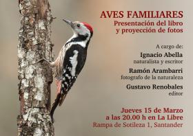 """Presentación del libro """"Aves familiares"""" de Ignacio Abella, con su autor, su editor y su fotógrafo. La Libre. Santander"""