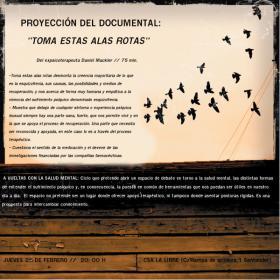 """Proyección del documental:  """"Toma estas alas rotas"""" sobre la recuperación de la esquizofrenia sin medicación. La Libre. Santander"""