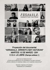 """Proyección del documental """"Arrakala (Grieta. Un agujero en la roca)"""". La Libre. Santander"""