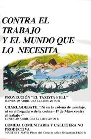 """Charla-debate: """"Ni en la cadena de montaje, ni en el fregadero de la cocina. 1º de mayo contra el trabajo"""". La Libre. Santander"""
