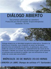 """Proyección del documental: """"Diálogo abierto"""" del ciclo """"A vueltas con la salud mental"""". La Libre. Santander"""