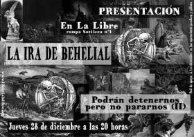 """Presentación de """"La ira de Behelial:Podrán detenernos pero no pararnos (II)"""". La Libre. Santander"""