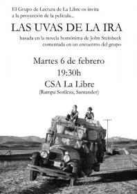 """Proyección de la película """"Las uvas de la ira"""". La Libre. Santander"""