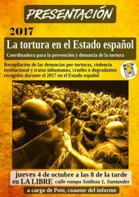 """Presentación del informe: """"La tortura en el estado español 2017"""". La Libre. Santander"""